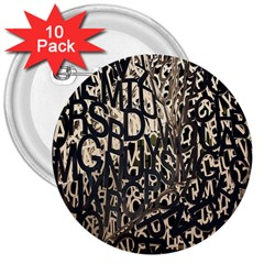Wallpaper Texture Pattern Design Ornate Abstract 3  Buttons (10 pack)