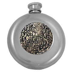 Wallpaper Texture Pattern Design Ornate Abstract Round Hip Flask (5 oz)