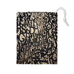Wallpaper Texture Pattern Design Ornate Abstract Drawstring Pouches (Large)