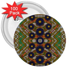 Fleur Flower Porcelaine In Calm 3  Buttons (100 pack)