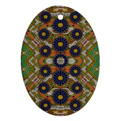 Fleur Flower Porcelaine In Calm Oval Ornament (Two Sides)