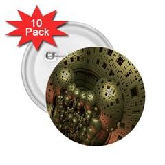 Geometric Fractal Cuboid Menger Sponge Geometry 2.25  Buttons (10 pack)