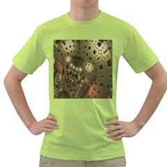 Geometric Fractal Cuboid Menger Sponge Geometry Green T-Shirt