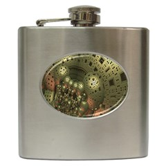 Geometric Fractal Cuboid Menger Sponge Geometry Hip Flask (6 oz)