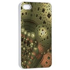 Geometric Fractal Cuboid Menger Sponge Geometry Apple iPhone 4/4s Seamless Case (White)