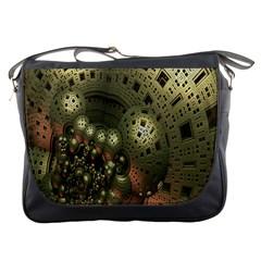 Geometric Fractal Cuboid Menger Sponge Geometry Messenger Bags