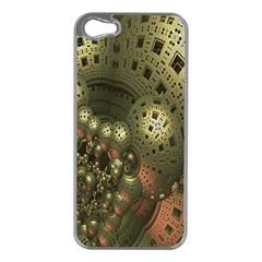 Geometric Fractal Cuboid Menger Sponge Geometry Apple iPhone 5 Case (Silver)