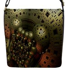 Geometric Fractal Cuboid Menger Sponge Geometry Flap Messenger Bag (S)