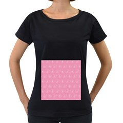 Pink pattern Women s Loose-Fit T-Shirt (Black)