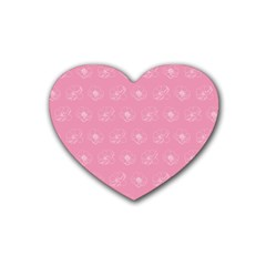 Pink pattern Heart Coaster (4 pack)