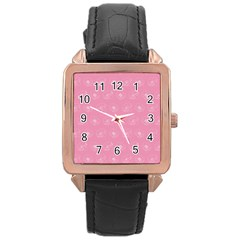 Pink pattern Rose Gold Leather Watch