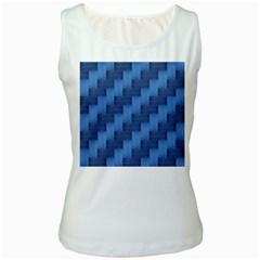 Blue pattern Women s White Tank Top