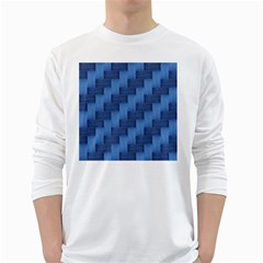 Blue pattern White Long Sleeve T-Shirts