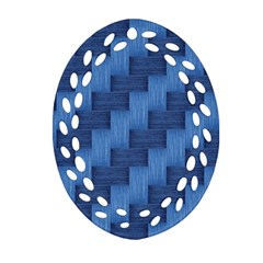 Blue pattern Oval Filigree Ornament (Two Sides)
