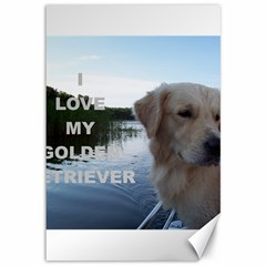 Golden Retriver Love W Pic Canvas 12  x 18