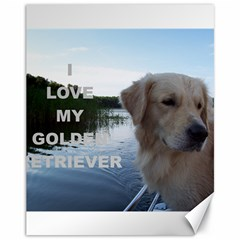 Golden Retriver Love W Pic Canvas 11  x 14