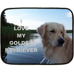 Golden Retriver Love W Pic Fleece Blanket (Mini)
