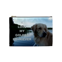 Golden Retriver Love W Pic Cosmetic Bag (Medium)