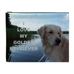 Golden Retriver Love W Pic Cosmetic Bag (XL)