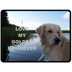 Golden Retriver Love W Pic Fleece Blanket (Large)