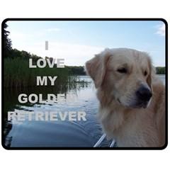 Golden Retriver Love W Pic Double Sided Fleece Blanket (Medium)