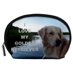 Golden Retriver Love W Pic Accessory Pouches (Large)