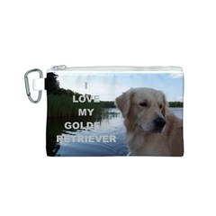 Golden Retriver Love W Pic Canvas Cosmetic Bag (S)