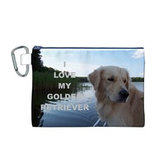 Golden Retriver Love W Pic Canvas Cosmetic Bag (M)