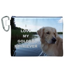 Golden Retriver Love W Pic Canvas Cosmetic Bag (XL)