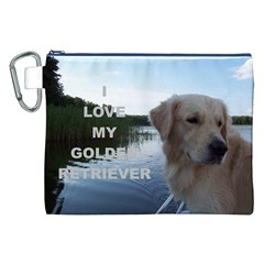 Golden Retriver Love W Pic Canvas Cosmetic Bag (XXL)