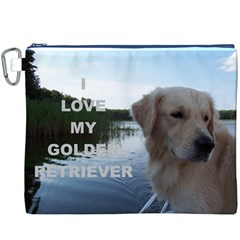 Golden Retriver Love W Pic Canvas Cosmetic Bag (XXXL)