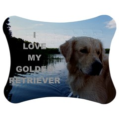Golden Retriver Love W Pic Jigsaw Puzzle Photo Stand (Bow)