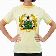 Coat of Arms of Ghana Women s Fitted Ringer T-Shirts