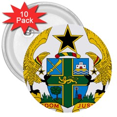 Coat of Arms of Ghana 3  Buttons (10 pack)