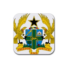 Coat of Arms of Ghana Rubber Coaster (Square)