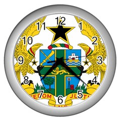 Coat of Arms of Ghana Wall Clocks (Silver)