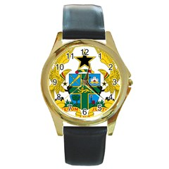Coat of Arms of Ghana Round Gold Metal Watch