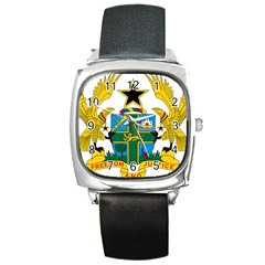 Coat of Arms of Ghana Square Metal Watch