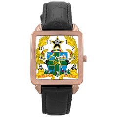 Coat of Arms of Ghana Rose Gold Leather Watch