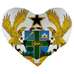 Coat of Arms of Ghana Large 19  Premium Flano Heart Shape Cushions