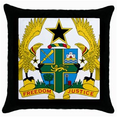 Coat of Arms of Ghana Throw Pillow Case (Black)