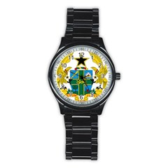 Coat of Arms of Ghana Stainless Steel Round Watch