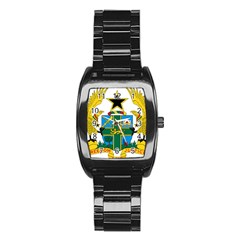 Coat of Arms of Ghana Stainless Steel Barrel Watch