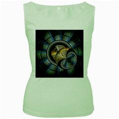Fractal Tech Disc Background Women s Green Tank Top