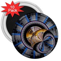 Fractal Tech Disc Background 3  Magnets (10 pack)