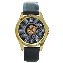 Fractal Tech Disc Background Round Gold Metal Watch