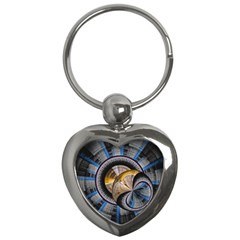 Fractal Tech Disc Background Key Chains (Heart)