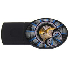 Fractal Tech Disc Background USB Flash Drive Oval (1 GB)