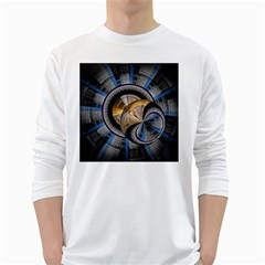 Fractal Tech Disc Background White Long Sleeve T-Shirts