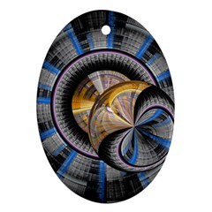 Fractal Tech Disc Background Oval Ornament (Two Sides)